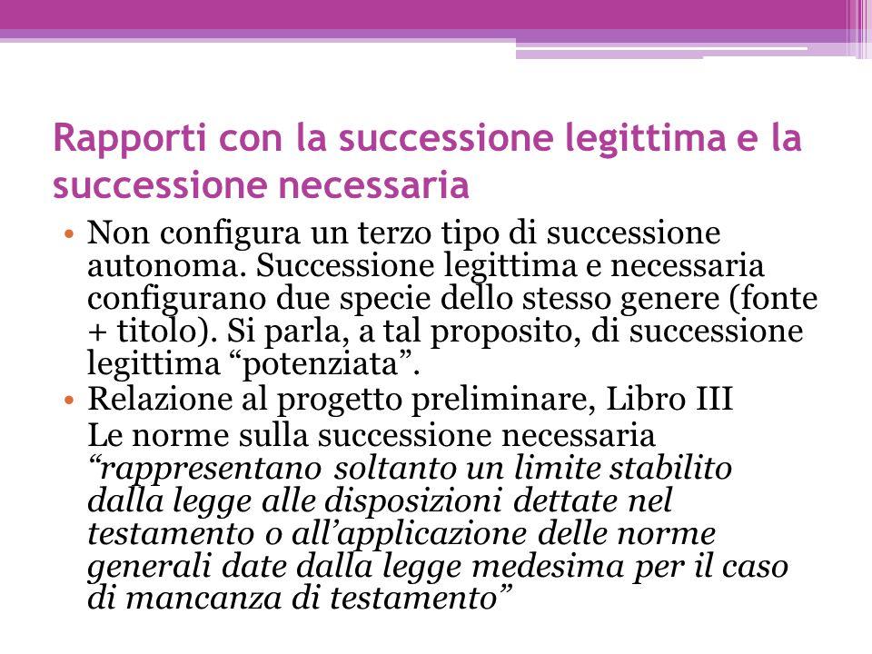 Rapporti con la successione legittima e la successione necessaria Non configura un terzo tipo di successione autonoma. Successione legittima e necessa