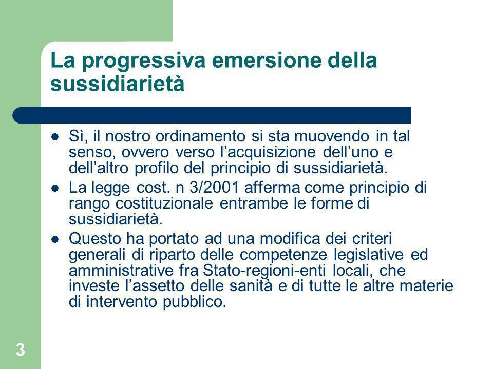 3 La progressiva emersione della sussidiarietà Sì, il nostro ordinamento si sta muovendo in tal senso, ovvero verso lacquisizione delluno e dellaltro profilo del principio di sussidiarietà.