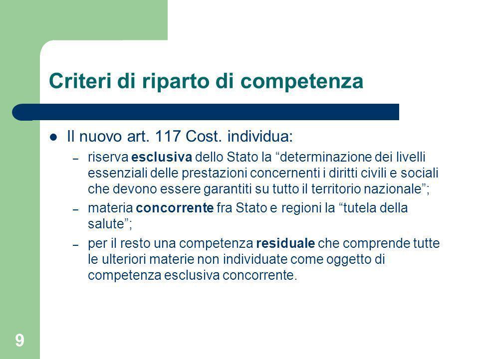 9 Criteri di riparto di competenza Il nuovo art.117 Cost.