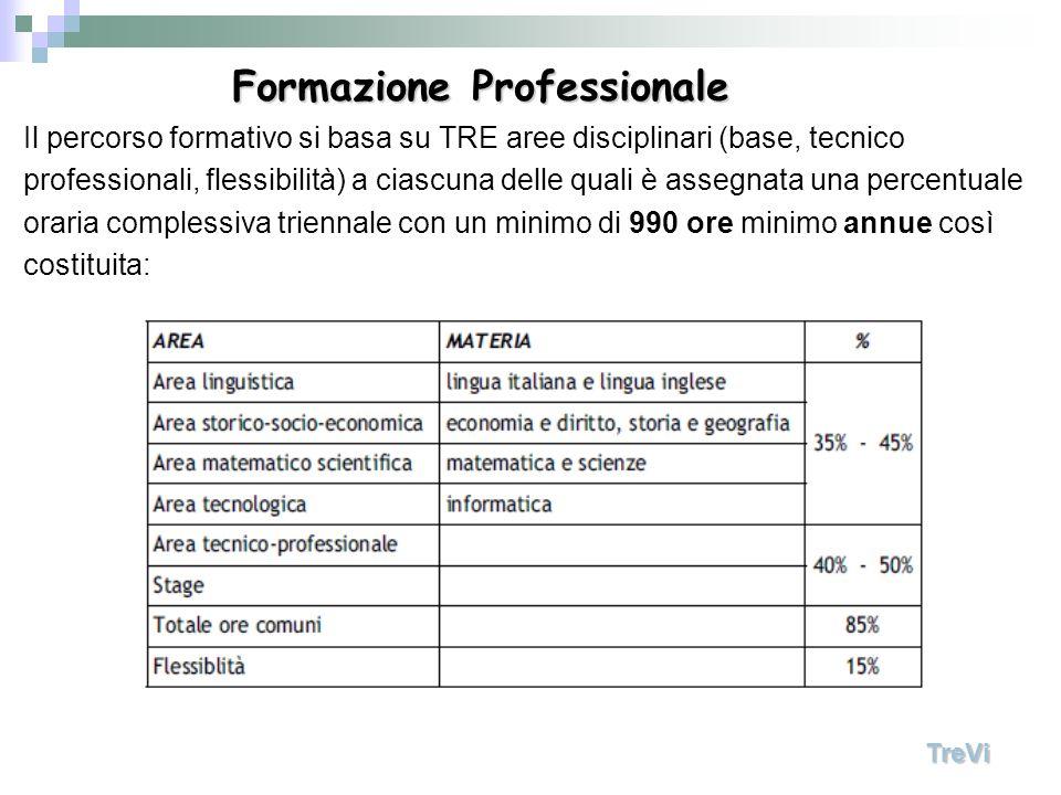 Il percorso formativo si basa su TRE aree disciplinari (base, tecnico professionali, flessibilità) a ciascuna delle quali è assegnata una percentuale oraria complessiva triennale con un minimo di 990 ore minimo annue così costituita: TreVi Formazione Professionale