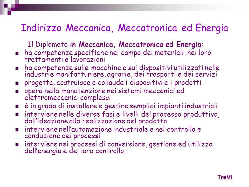 Indirizzo Meccanica, Meccatronica ed Energia Il Diplomato in Meccanica, Meccatronica ed Energia: ha competenze specifiche nel campo dei materiali, nei