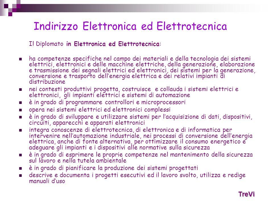 Il Diplomato in Elettronica ed Elettrotecnica: ha competenze specifiche nel campo dei materiali e della tecnologia dei sistemi elettrici, elettronici
