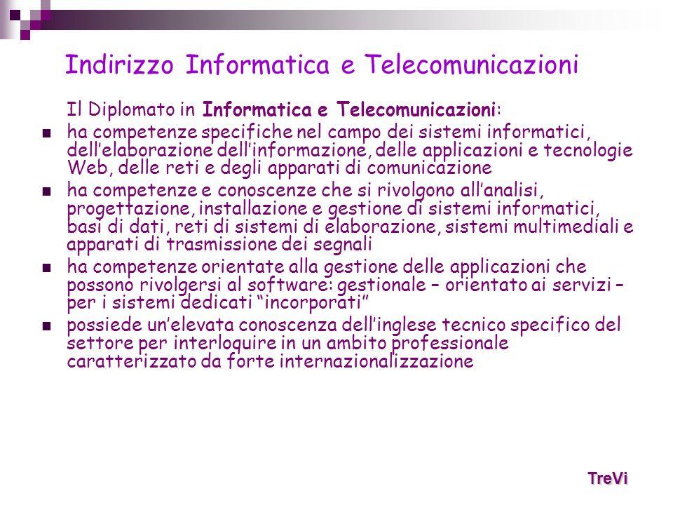 Il Diplomato in Informatica e Telecomunicazioni: ha competenze specifiche nel campo dei sistemi informatici, dellelaborazione dellinformazione, delle
