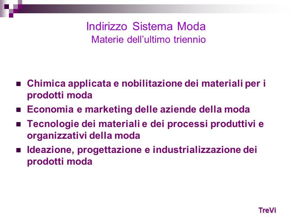 Chimica applicata e nobilitazione dei materiali per i prodotti moda Economia e marketing delle aziende della moda Tecnologie dei materiali e dei proce