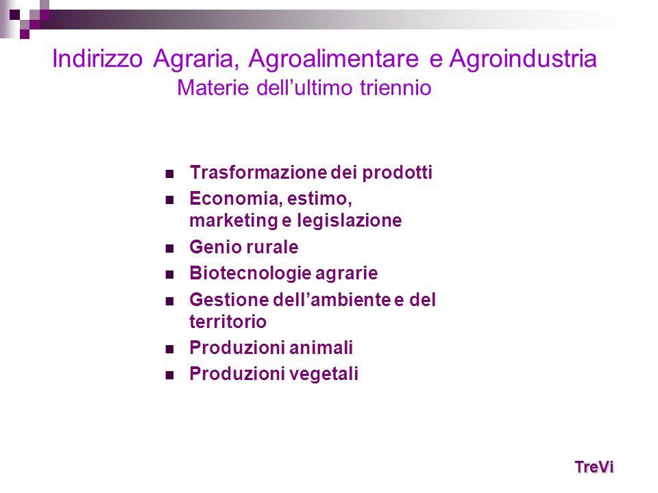 Trasformazione dei prodotti Economia, estimo, marketing e legislazione Genio rurale Biotecnologie agrarie Gestione dellambiente e del territorio Produ