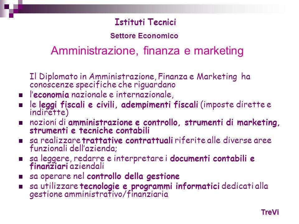 Amministrazione, finanza e marketing Il Diplomato in Amministrazione, Finanza e Marketing ha conoscenze specifiche che riguardano leconomia nazionale