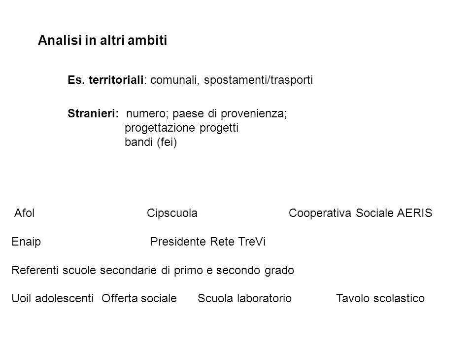 Analisi in altri ambiti Es. territoriali: comunali, spostamenti/trasporti Stranieri: numero; paese di provenienza; progettazione progetti bandi (fei)