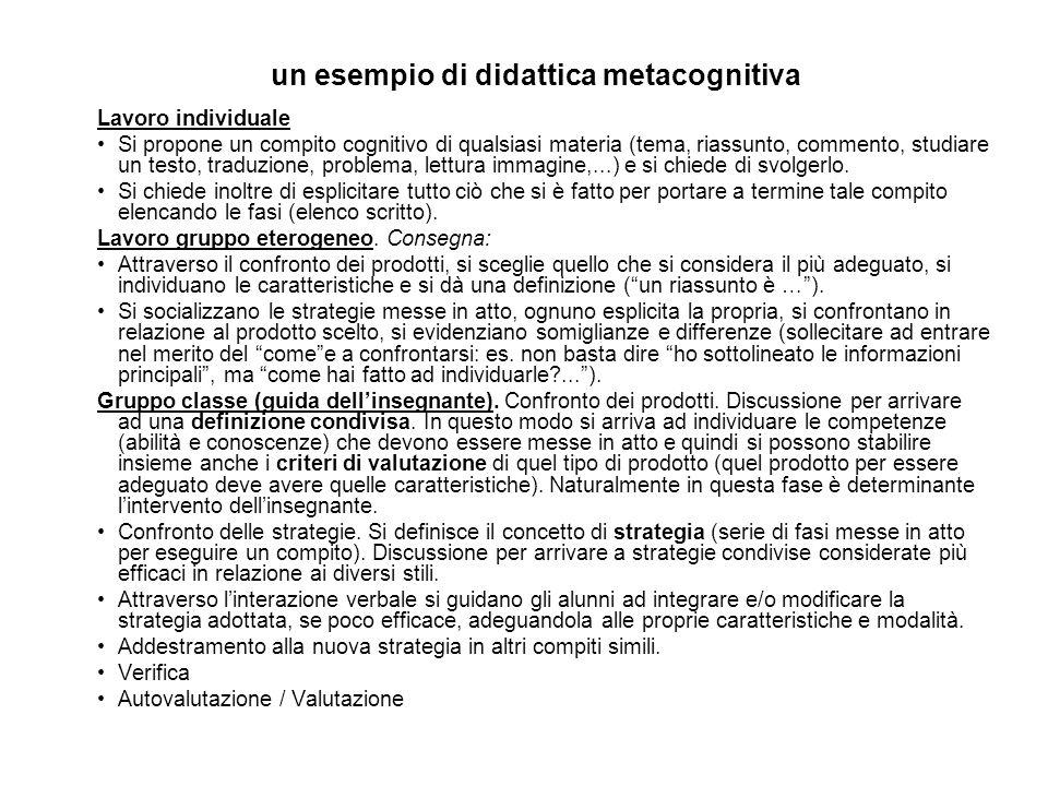 un esempio di didattica metacognitiva Lavoro individuale Si propone un compito cognitivo di qualsiasi materia (tema, riassunto, commento, studiare un