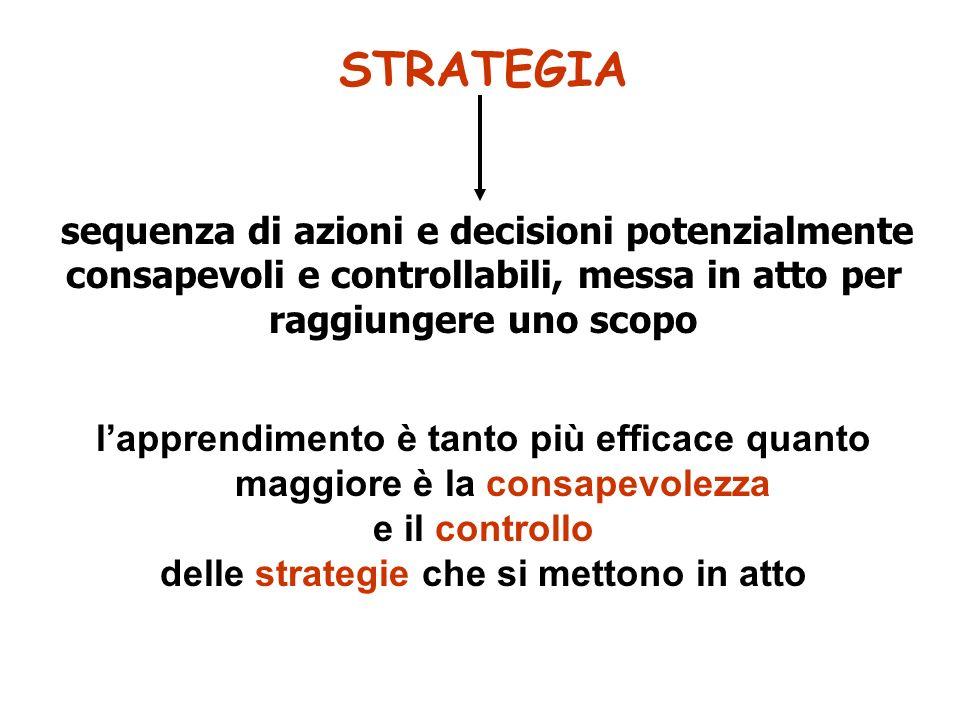 STRATEGIA sequenza di azioni e decisioni potenzialmente consapevoli e controllabili, messa in atto per raggiungere uno scopo lapprendimento è tanto pi