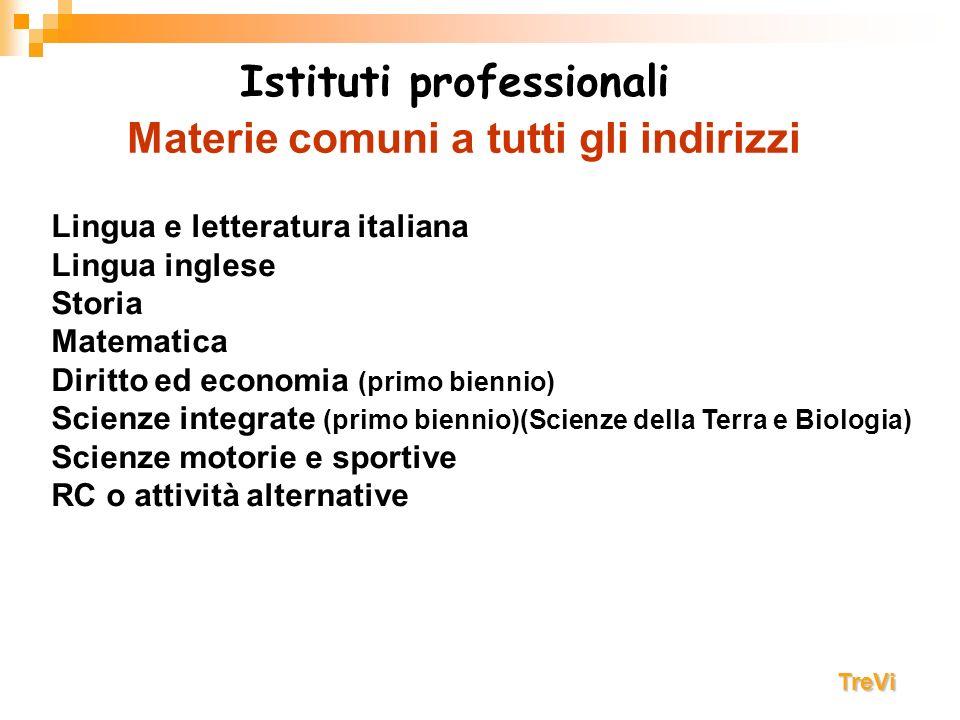 Materie comuni a tutti gli indirizzi Lingua e letteratura italiana Lingua inglese Storia Matematica Diritto ed economia (primo biennio) Scienze integr