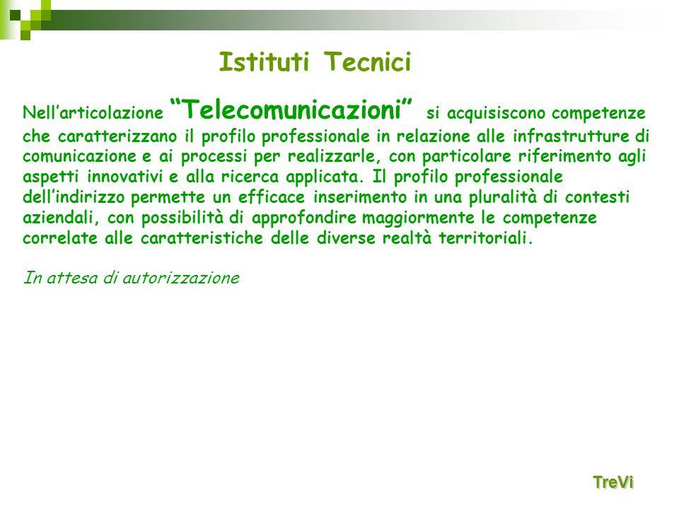 Istituti Tecnici TreVi Nellarticolazione Telecomunicazioni si acquisiscono competenze che caratterizzano il profilo professionale in relazione alle in
