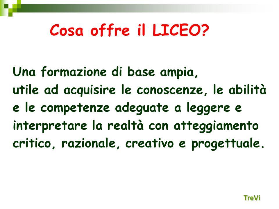 Cosa offre il LICEO? Una formazione di base ampia, utile ad acquisire le conoscenze, le abilità e le competenze adeguate a leggere e interpretare la r