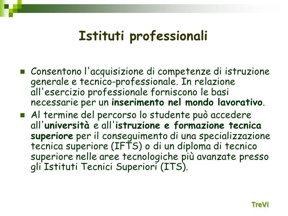 Consentono l'acquisizione di competenze di istruzione generale e tecnico-professionale. In relazione all'esercizio professionale forniscono le basi ne