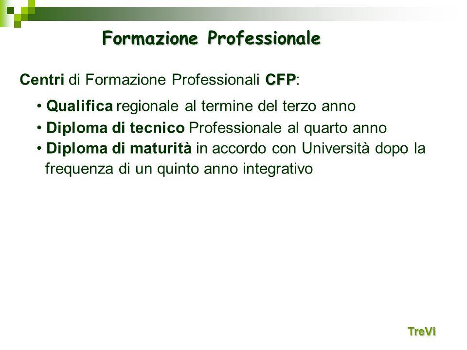 TreVi CFP Centri di Formazione Professionali CFP: Qualifica regionale al termine del terzo anno Diploma di tecnico Professionale al quarto anno Diplom