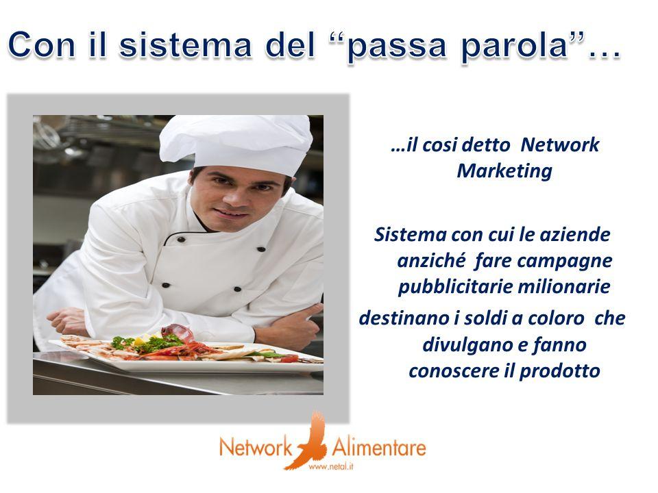 …il cosi detto Network Marketing Sistema con cui le aziende anziché fare campagne pubblicitarie milionarie destinano i soldi a coloro che divulgano e fanno conoscere il prodotto