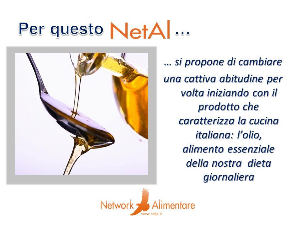 … si propone di cambiare una cattiva abitudine per volta iniziando con il prodotto che caratterizza la cucina italiana: lolio, alimento essenziale del