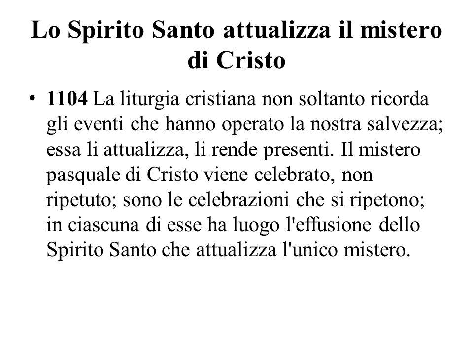 Lo Spirito Santo attualizza il mistero di Cristo 1104 La liturgia cristiana non soltanto ricorda gli eventi che hanno operato la nostra salvezza; essa