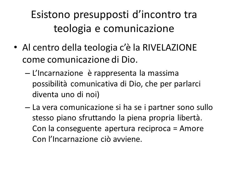 Esistono presupposti dincontro tra teologia e comunicazione Al centro della teologia cè la RIVELAZIONE come comunicazione di Dio. – LIncarnazione è ra