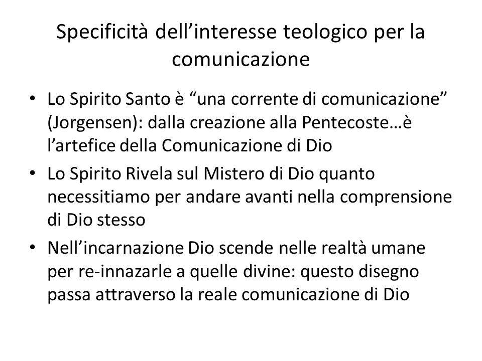 Specificità dellinteresse teologico per la comunicazione Lo Spirito Santo è una corrente di comunicazione (Jorgensen): dalla creazione alla Pentecoste