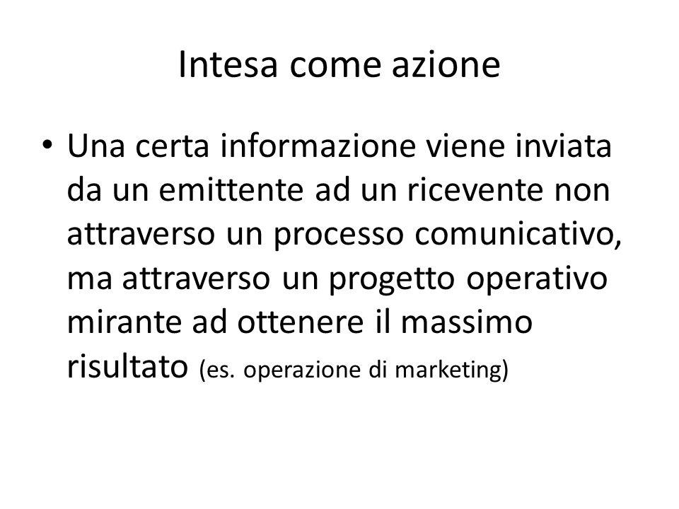 Intesa come azione Una certa informazione viene inviata da un emittente ad un ricevente non attraverso un processo comunicativo, ma attraverso un prog
