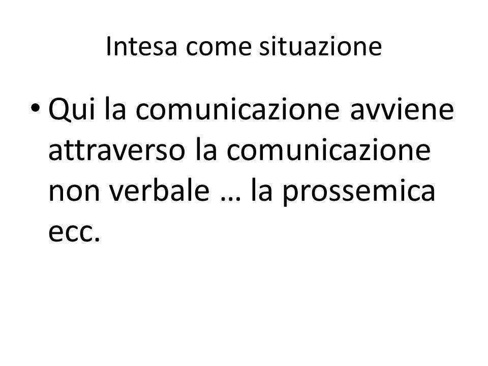 Intesa come situazione Qui la comunicazione avviene attraverso la comunicazione non verbale … la prossemica ecc.
