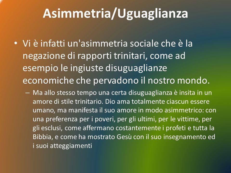 Asimmetria/Uguaglianza Vi è infatti un'asimmetria sociale che è la negazione di rapporti trinitari, come ad esempio le ingiuste disuguaglianze economi
