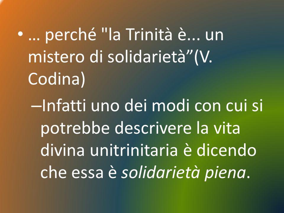 … perché la Trinità è...un mistero di solidarietà(V.
