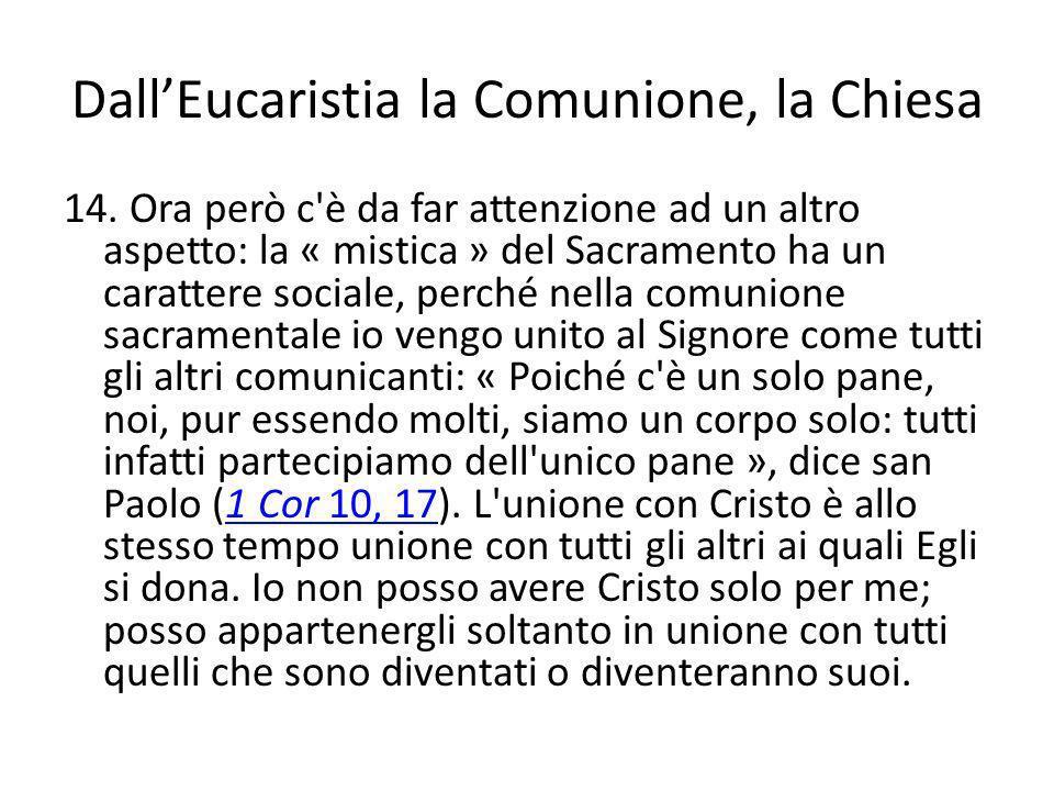 DallEucaristia la Comunione, la Chiesa 14. Ora però c'è da far attenzione ad un altro aspetto: la « mistica » del Sacramento ha un carattere sociale,