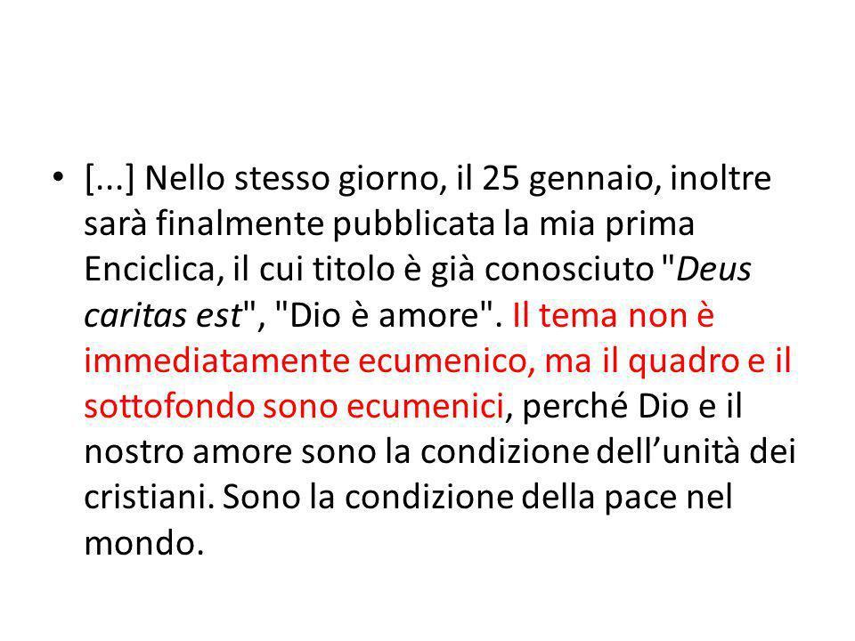 In questa Enciclica vorrei mostrare il concetto di amore nelle sue diverse dimensioni.