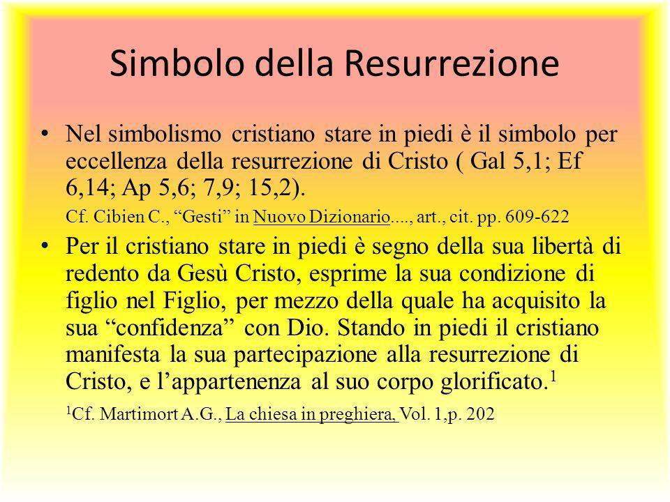 Simbolo della Resurrezione Nel simbolismo cristiano stare in piedi è il simbolo per eccellenza della resurrezione di Cristo ( Gal 5,1; Ef 6,14; Ap 5,6