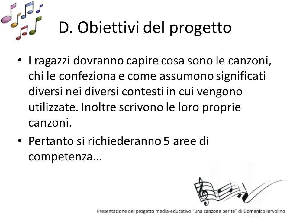 D. Obiettivi del progetto I ragazzi dovranno capire cosa sono le canzoni, chi le confeziona e come assumono significati diversi nei diversi contesti i