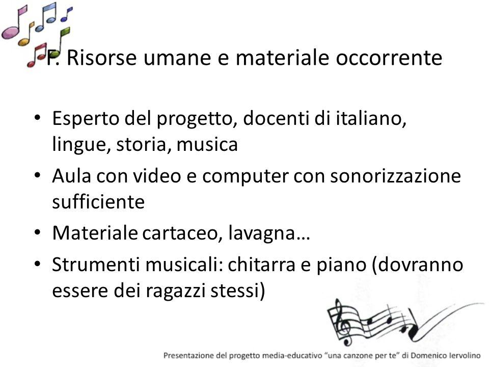 F. Risorse umane e materiale occorrente Esperto del progetto, docenti di italiano, lingue, storia, musica Aula con video e computer con sonorizzazione