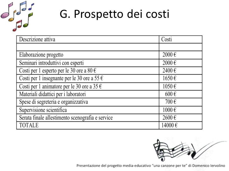 G. Prospetto dei costi