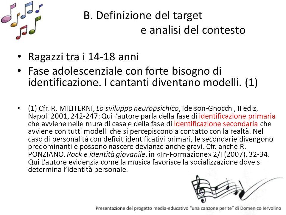 B. Definizione del target e analisi del contesto Ragazzi tra i 14-18 anni Fase adolescenziale con forte bisogno di identificazione. I cantanti diventa