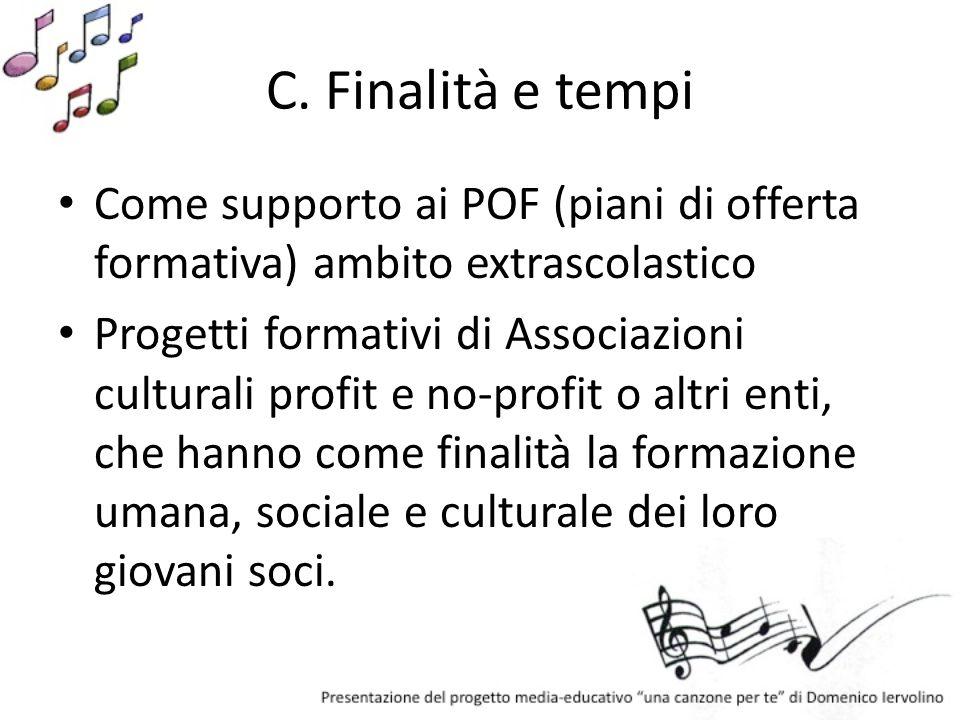 C. Finalità e tempi Come supporto ai POF (piani di offerta formativa) ambito extrascolastico Progetti formativi di Associazioni culturali profit e no-