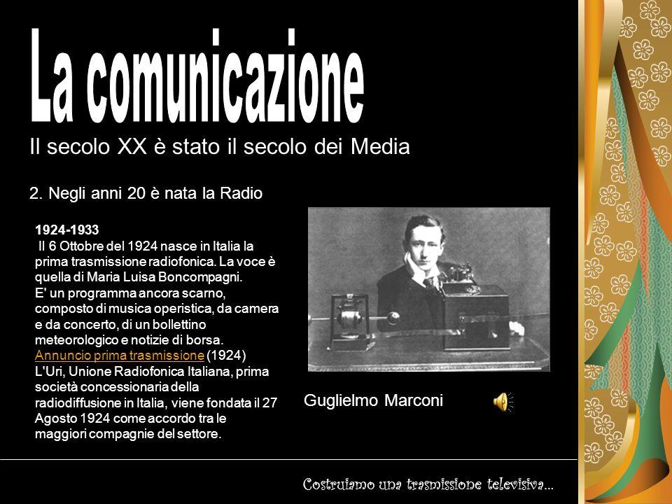 Il secolo XX è stato il secolo dei Media Costruiamo una trasmissione televisiva… 3.