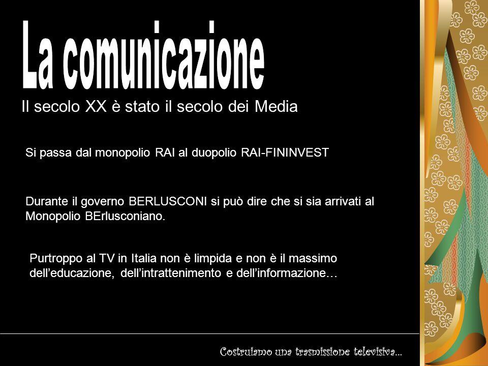 Il secolo XX è stato il secolo dei Media Costruiamo una trasmissione televisiva… Tipologie di televisione La televisione viene diffusa agli utenti attraverso reti per telecomunicazioni che possono utilizzare metodi di trasmissione diversi in diversi tratti della rete.