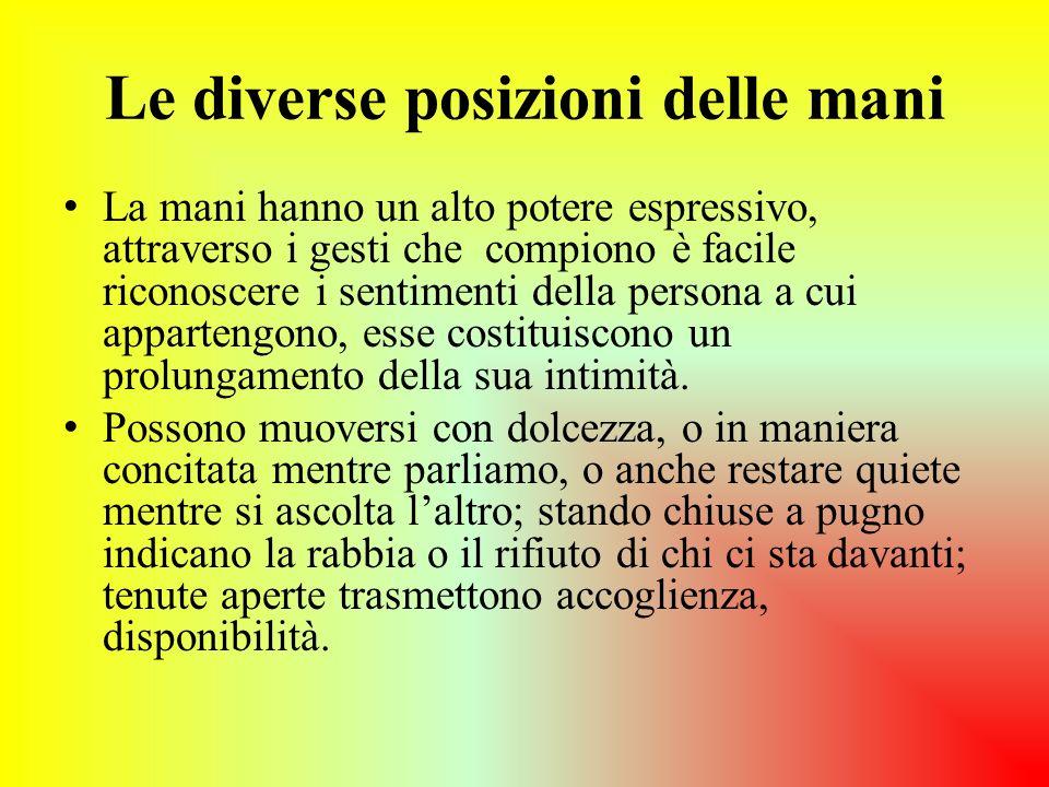 Le diverse posizioni delle mani La mani hanno un alto potere espressivo, attraverso i gesti che compiono è facile riconoscere i sentimenti della perso