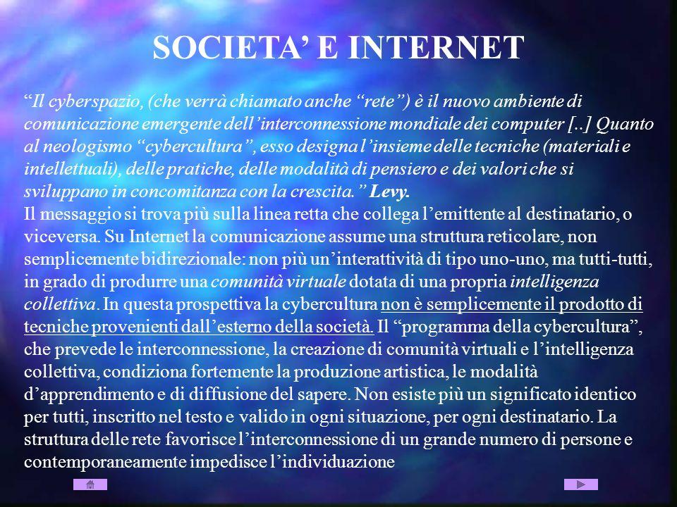 SOCIETA E INTERNET Il cyberspazio, (che verrà chiamato anche rete) è il nuovo ambiente di comunicazione emergente dellinterconnessione mondiale dei co