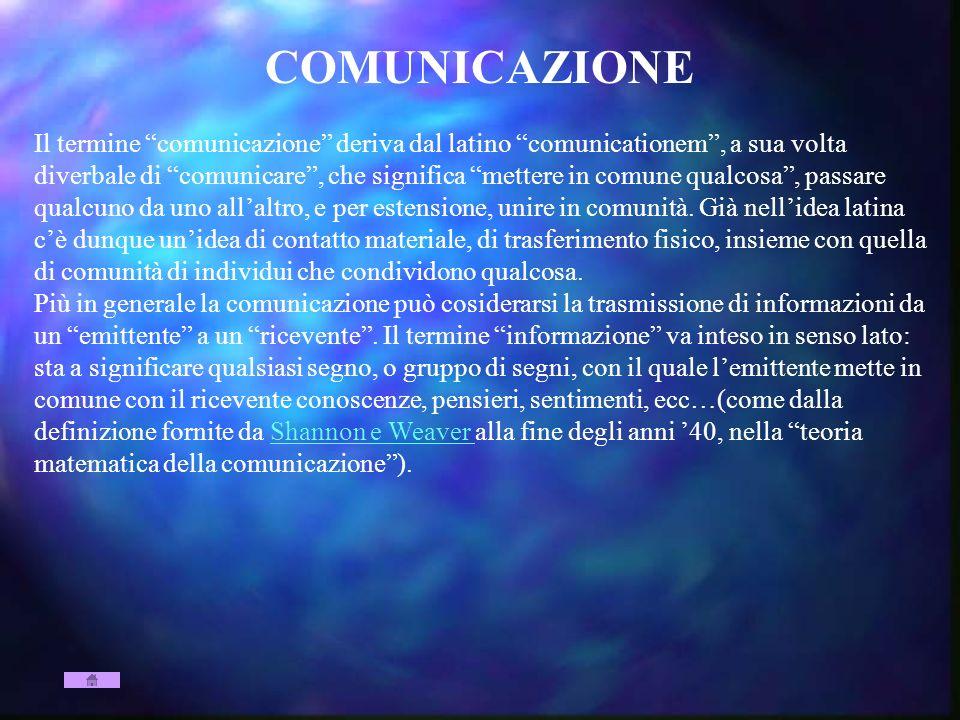 COMUNICAZIONE Il termine comunicazione deriva dal latino comunicationem, a sua volta diverbale di comunicare, che significa mettere in comune qualcosa