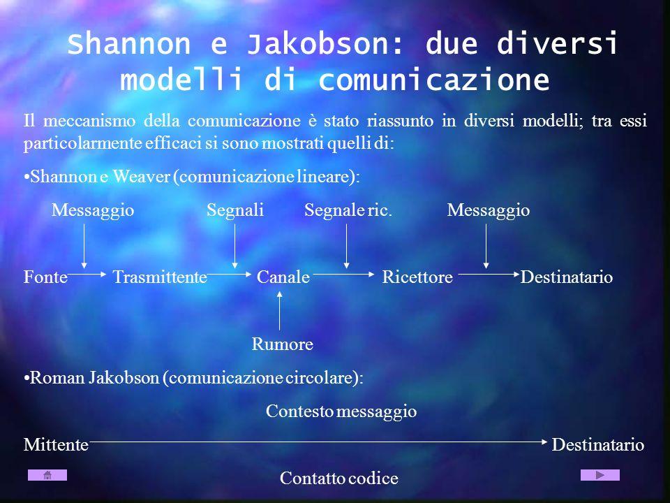 Shannon e Jakobson: due diversi modelli di comunicazione Il meccanismo della comunicazione è stato riassunto in diversi modelli; tra essi particolarme
