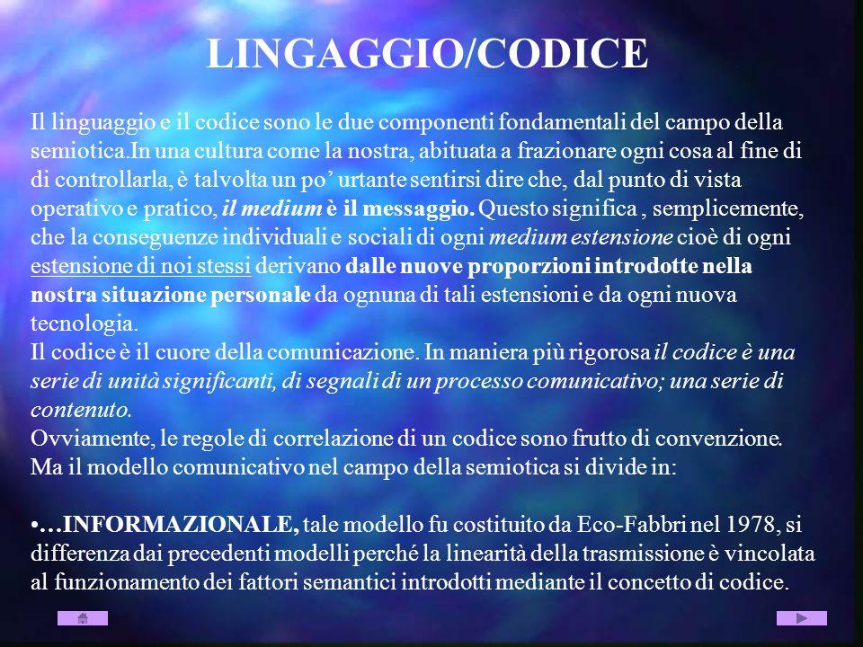 LINGAGGIO/CODICE Il linguaggio e il codice sono le due componenti fondamentali del campo della semiotica.In una cultura come la nostra, abituata a fra