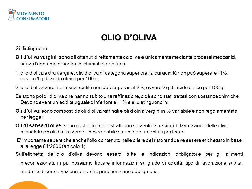 OLIO DOLIVA Si distinguono: Oli doliva vergini: sono oli ottenuti direttamente da olive e unicamente mediante processi meccanici, senza laggiunta di s