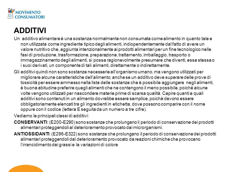 ACIDIFICANTI e CORRETTORI DI ACIDITA(E325-E385): sono sostanze che modificano lacidità di un prodotto alimentare.
