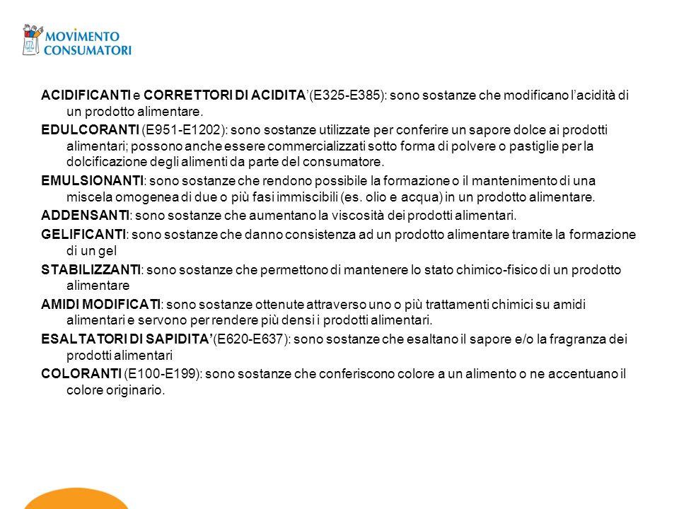 ACIDIFICANTI e CORRETTORI DI ACIDITA(E325-E385): sono sostanze che modificano lacidità di un prodotto alimentare. EDULCORANTI (E951-E1202): sono sosta