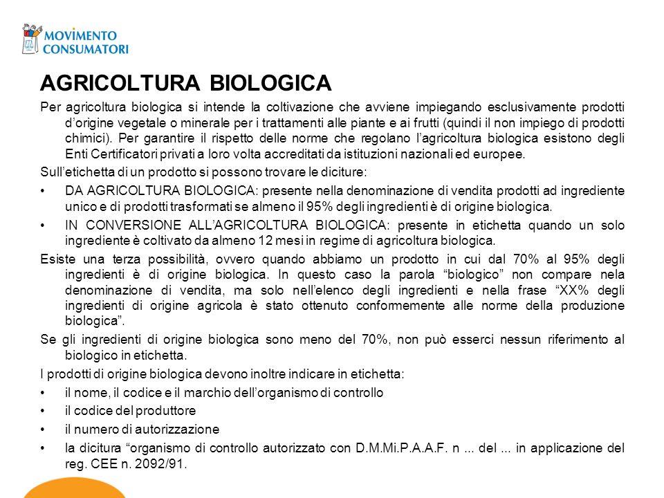 AGRICOLTURA BIOLOGICA Per agricoltura biologica si intende la coltivazione che avviene impiegando esclusivamente prodotti dorigine vegetale o minerale