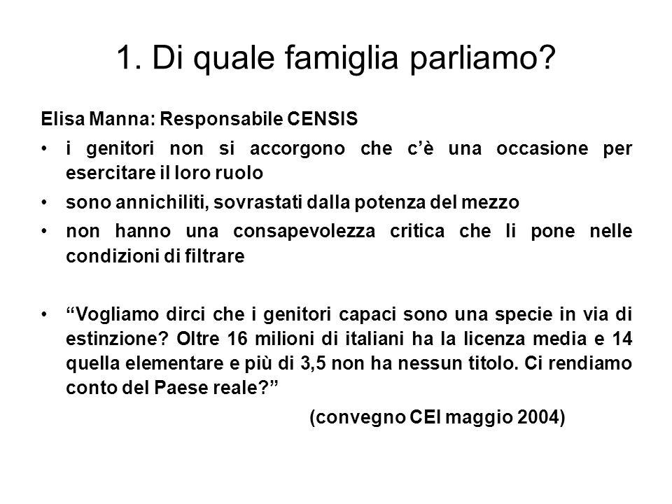1. Di quale famiglia parliamo? Elisa Manna: Responsabile CENSIS i genitori non si accorgono che cè una occasione per esercitare il loro ruolo sono ann