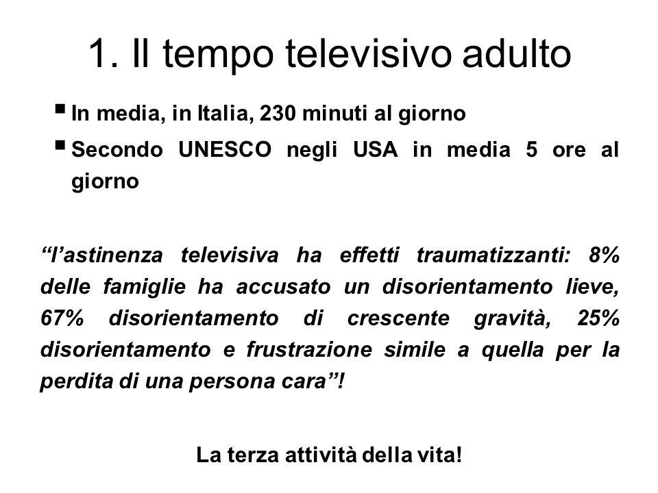 1. Il tempo televisivo adulto In media, in Italia, 230 minuti al giorno Secondo UNESCO negli USA in media 5 ore al giorno lastinenza televisiva ha eff