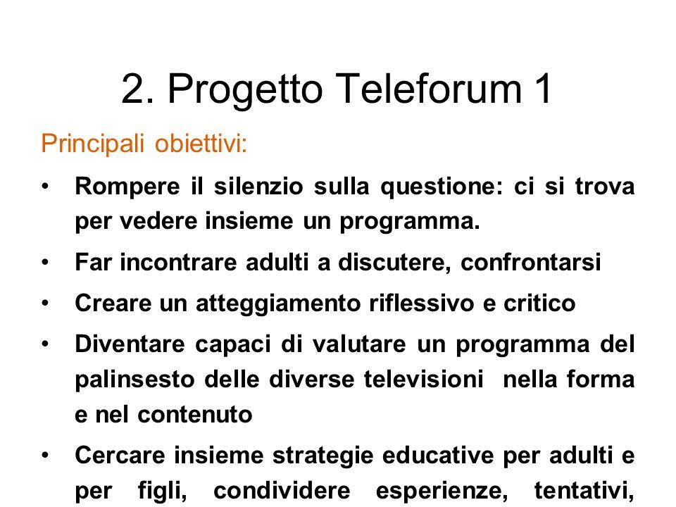 2. Progetto Teleforum 1 Principali obiettivi: Rompere il silenzio sulla questione: ci si trova per vedere insieme un programma. Far incontrare adulti