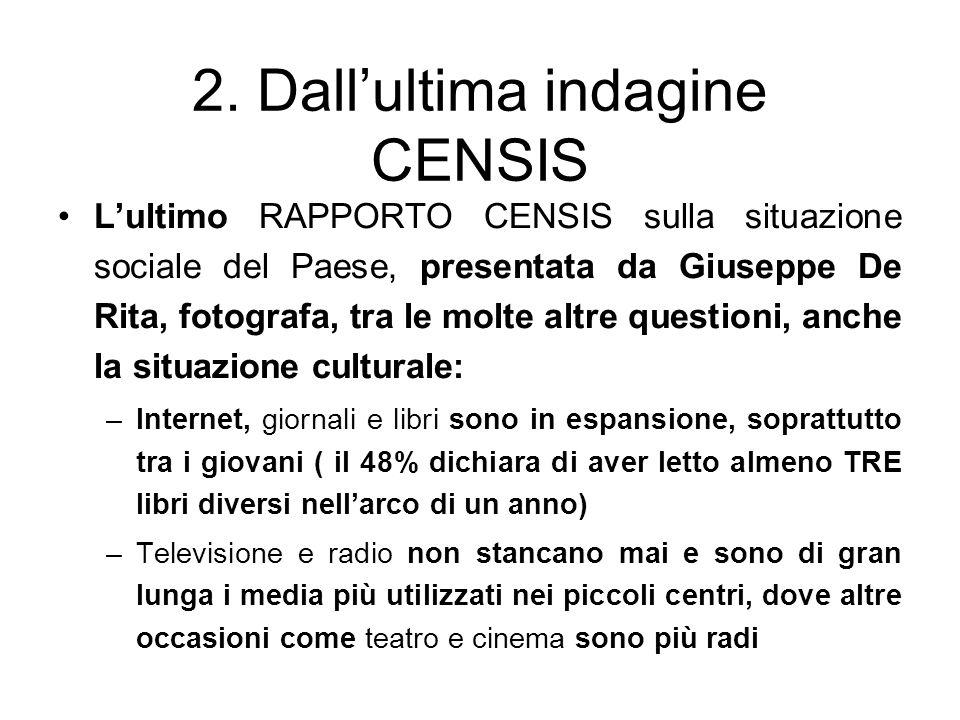 2. Dallultima indagine CENSIS Lultimo RAPPORTO CENSIS sulla situazione sociale del Paese, presentata da Giuseppe De Rita, fotografa, tra le molte altr